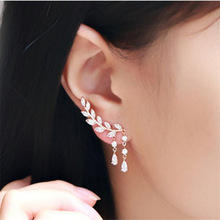 ES206 Stud Earrings for Women Crystal Leaf Waterdrop Earring Fashion Jewelry Brincos Bijoux OL Summer Ear Wear HOT Selling