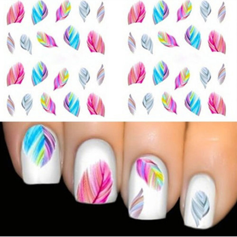 1pcs FEATHER Nail Art Water Transfer Decal Sticker Rainbow Dreams Bright Color Stickers For Nails Stickers For French Manicure(China)