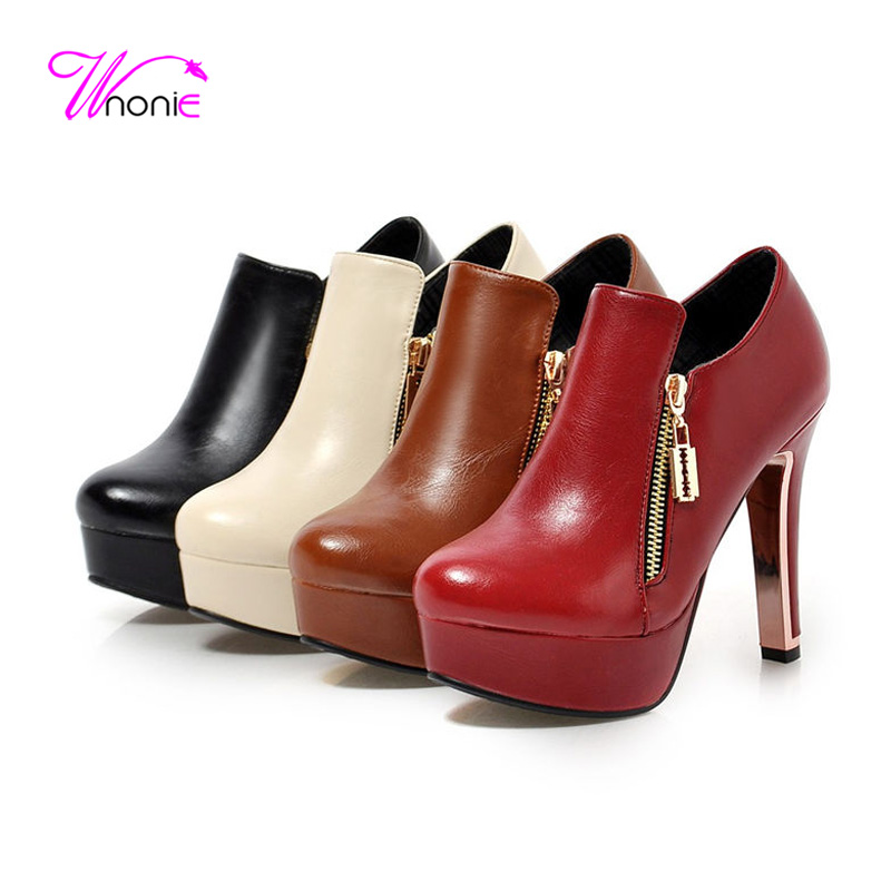 2017 Fashion Womens Ankle Boots Short Boot Thick High Heel PU Leather Zipper Fabric Hair Autumn Party Dress Winter Ladies Shoes<br><br>Aliexpress