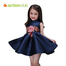 New 2016 Baby Girls Dress Print Flower Princess Party Dress Kids Clothes For Girls Children Clothing Summer Elegant KD494