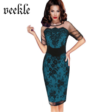 VEEKLE Women Summer Vintage Bodycon Sexy Evening Floral Lace See Through Tunic Office Mother Of Bride Party Dress Plus Size 4XL(China)