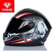Motocross YOHE Motorcycle helmet full face running motorbike helmets Warm scarf made of ABS Model YH966 with lion pattern