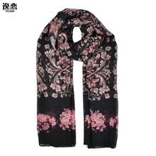 YI LIAN New Arrival Fashion Design For Women Printed Rose Pattern Long and Thin Scarves SF871(China)