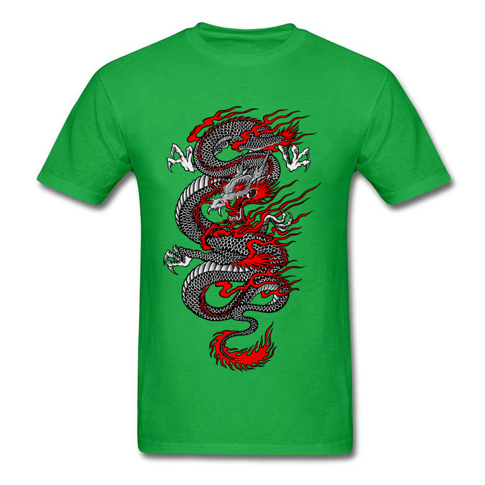 Asian Dragon 100% Cotton Tops T Shirt for Men Printed T-shirts Summer New Coming O-Neck T Shirt Short Sleeve Free Shipping Asian Dragon green