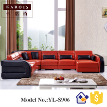 China quality supplier big lots furniture leather corner sofa S906,leather couch(China)