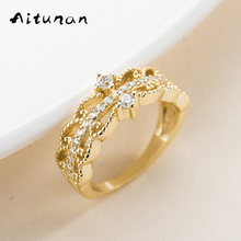 Aitunan Vintage Style Luxury Hollow Wave Lace Ring 925 Sterling Silver Zircon Ring For Women Wedding Jewelry Original Designs(China)