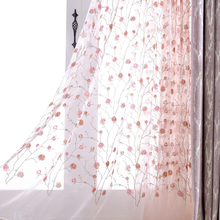 Romantic Rose Flower Embroidered Tulle Fabric 100% Polyester Window Tulle Curtain for Living Room Sewing Fabrics Wedding Decor