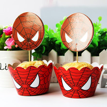 spiderman theme 24pcs Cupcake Wrapper Toppers happy birthday party Supplies Dessert shop cake decoration cake accessory