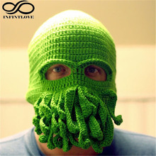 IFINITLOVE Men Women Fancy Cosplay Ghost Crochet Octopus Cap Knitted Beards Tentacle Beanie Handmade Halloween Party Gift Hat
