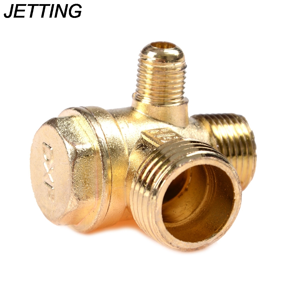 3 Port Brass Central Pneumatic Valves Air Compressor Check Valve Thread 90 Degree DIY Home Tools