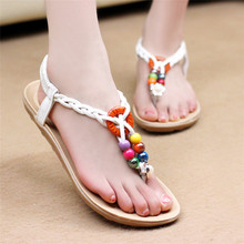 Free Shipping 2017 New Summer Classics Colour Beading Comfort Sandals Fashion Solid PU Leather Flat Gladiator Sandals 2 Colors