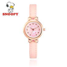 2017 Snoopy Kids Watch Children Watch Casual Fashion Cute Quartz Wristwatches Girls Leather Watchband Water Resisitant clock