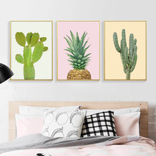 Nordic Posters And Prints Cactus Decor Wall Art Canvas Painting Pink Pineapple Wall Pictures For Living Room Aloe Art Unframed(China)