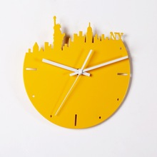 4 Colors Famous City New York Paris London Berlin Wall Quartz Metal Clock Home Decoration Watch Bell Living Room Home Decoration(China)