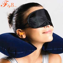 U shaped neck pillow Flight car travel Travelling Headrest Inflatable Portable Small Rest Air Cushion+Eye Mask+ Earbuds(China)