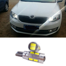 2x High Power 168 W5W T10 Led with Projector Lens Light Source Parking Led for skoda superb octavia a7 a 5 2 fabia rapid yeti(China)
