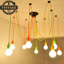 New Modern Pendant Lights 13 Colors DIY Lighting Colourful E27 Bulb Holder Lamps for Home Decoration / Fabric Cable(China)