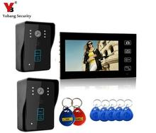 "YobangSecurity 2.4G 7"" TFT LCD Wireless Video Door Phone Doorbell Wireless Phone Intercom 2 camera 1 Monitor With RIFD Keyfobs"