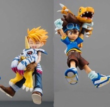 11cm Japanese anime figure Digimon Adventure YAGAMI TAICHI&Agumon/ISHIDA YAMATO&Gabumon action figure set kids toys model
