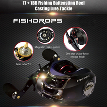 FISHDROPS 17 + 1BB Baitcasting Reel Fishing Gear Ratio 7.0:1 Left Right Hand Casting Reel Bass for Fresh & Saltwater