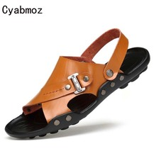 Cyabmoz Big Size 38-47 Men Summer Shoes Genuine Leather Male Gladiator Sandals Flip Flops Mens Beach Shoes Handmade Flats Slides(China)