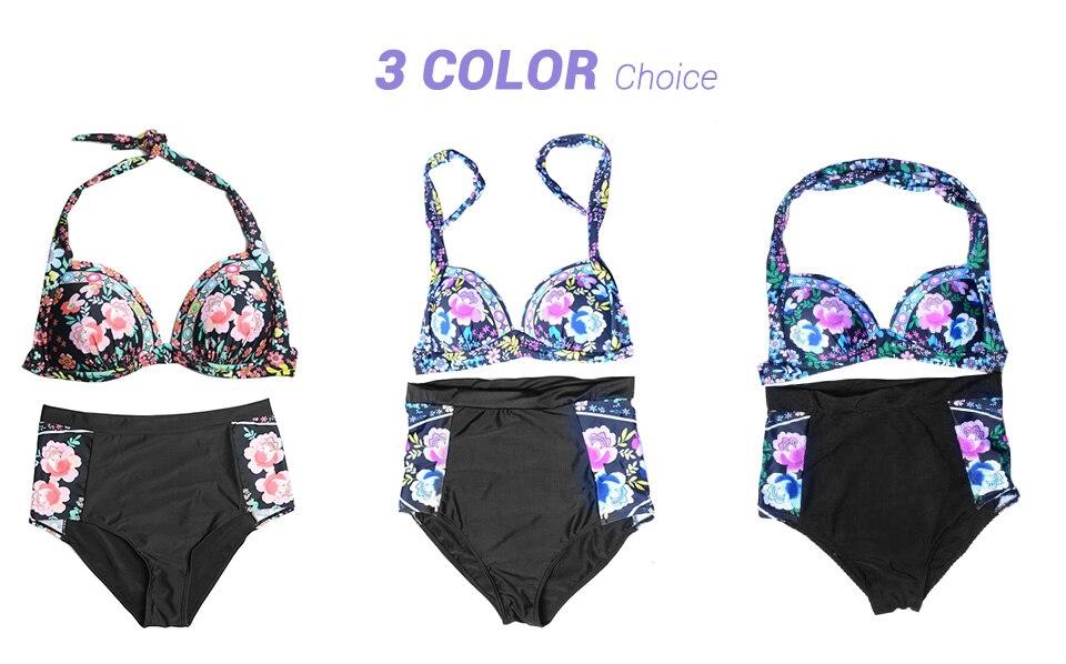 DANENJOY Sexy Printing Bikini Set Women Swimsuit Push Up Brazilian Swimwear 17 High Waist Biquines Feminino African Beachwear 19