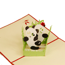 (10 pieces/lot)Creative 3D Cute Panda Greeting Card Custom Handmade Festival Card Gift Birthday Present for Children
