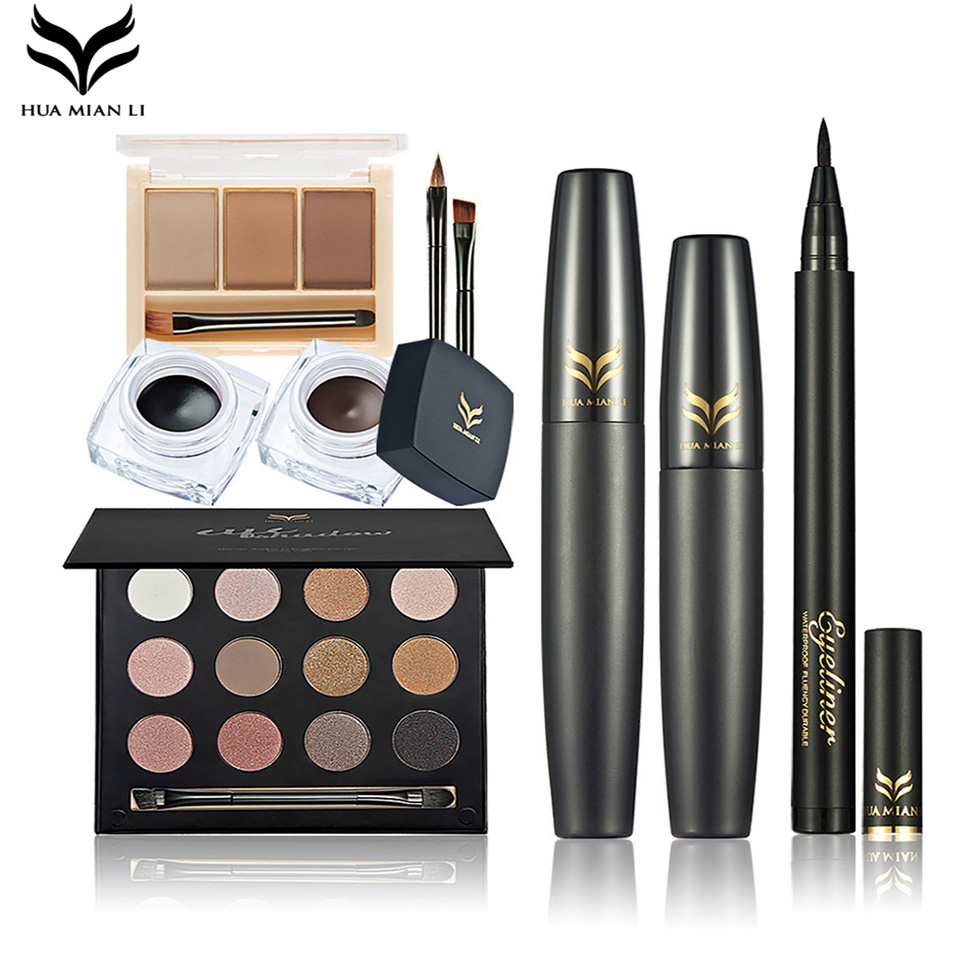 HUAMIANLI Profession 5Pcs Face Eye Makeup Set Eyebrow Eyeshadow Powder Palette Mascara Eyebrow Eyeliner Cream Cosmetics Make up(China (Mainland))