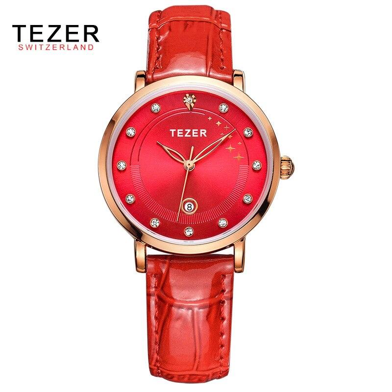 TEZER Luxury Brand Watch Women Quartz Watch Fashion Dress Watches Relojes Mujer Relogios Feminino Clocks Montre Femme C48<br><br>Aliexpress