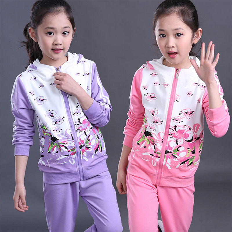 2017 Autumn Girls Clothes Jacket Floral Kids Hoodies+Pants Kids Tracksuit For Girls Clothing Sets Girls Sport Suit Age 3T-15T<br><br>Aliexpress