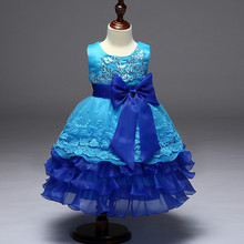 Girls Layered Dress Blue 2017 New Flower Red Girl Princess dresses Big Bow baby Purple Evening Birthday Party Wedding Ball Gown