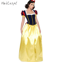Plus Size XXL Adult Snow White Costume Carnival Halloween Costumes for Women Fairy Tale Princess Cosplay Female Long Dress(China)