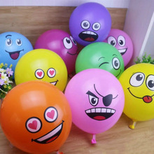 Tronzo 10Pcs Smile Face Balloons Mix Color Expression Ballon Latex Air Globo Halloween Decorations Happy Birthday Party Supplies