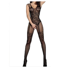 Hot New Sexy Much-loved Floral Motif Mesh Body Stockings one size (Black)(China)