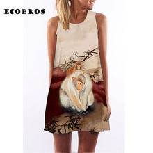 Buy ECOBROS 2017 New Casual Woman Summer Dress sleeveless Loose Monkeys print mini dresses plus size woman clothing dress for $7.99 in AliExpress store