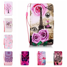 Cartoon Painting Drawing PU Stand Wallet Leather Cover Cases For Samsung J120 J1 2016 Mobile Phone Case + Lanyard gift