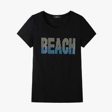 Summer Crystal BEACH letter Women Top tees Camiseta mujer shining diamonds female T-shirt Women tees plus size brand shirt