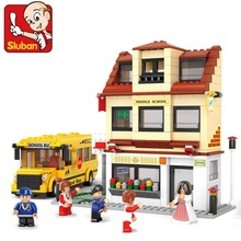 SLUBAN City School Bus Middle School Building Block toys B0333 496pcs 6dolls(China)