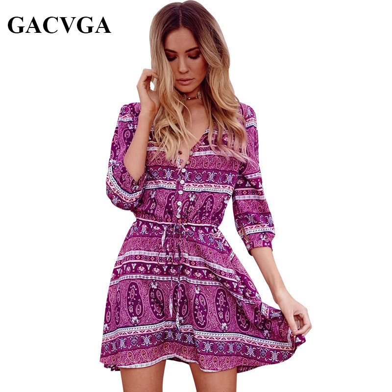 GACVGA Elegant floral print MIni dress Women boho paisley v neck sexy dress summer vintage loose button beach dresses vestidos