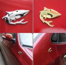 100pcs/lot Personalized 3D Full Metal Animal Shark Car Exterior Decals Accessory Gold Silver Chrome Metal Shark Emblem Stickers