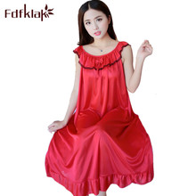 Fdfklak Summer New Women Nightgown Lingerie Sexy Nighties For Women Nightgowns Sexy Silk Sleepwear Lounge Dress Nightwear Q692(China)