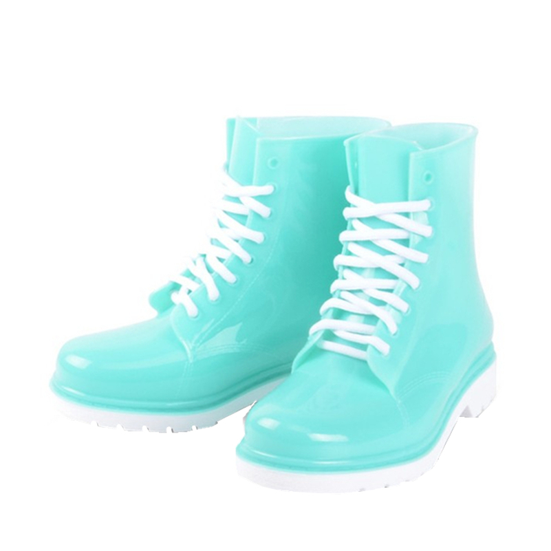 Bright Jelly Cute A Short Rain Boots Classical Women Lace Up Ankle Martin Soft Rubber Rainboots Ladies Brand Flat Shoes Women <br><br>Aliexpress