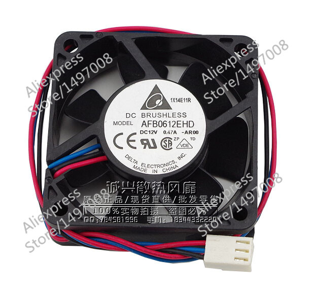 Free Shipping For DELTA AFB0612EHD, -AR00, DC 12V 0.47A, 60x60x20mm 60mm 3-wire 3-pin connector Server Square fan<br>