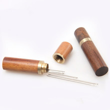 Hand Sewing Needles Embroidery Mending Housing Case Durable Practical Wood Box Leather Knitting Craft