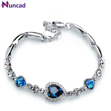 Nuncad One Piece Women Girls Ocean Blue Sliver Plated Crystal Heart Bracelet Bracciali Donna Gift Jewelry Bileklik Wholesale(China)