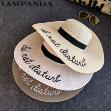 IAMPANDA brand 2017 letter embroidery cap Big brim Ladies summer straw hat youth hats for women Shade sun hats Beach hat sale(China)