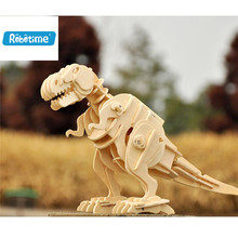 Robotime 2017 New Rc Dinosaurs DIY 3D Wooden Puzzle Electronic Toys Walking T-Rex Kids Christmas gifts Puzzle Toy Dropshipping(China)