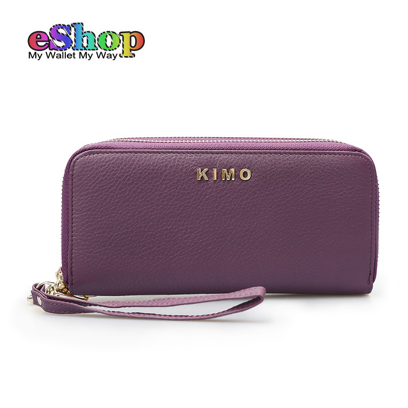 KIMO NEW Women Genuine Leather Wallets High Quality Long Ladies Leather Purse Large Capacity Woman Wristlet Cellphone Wallet<br>