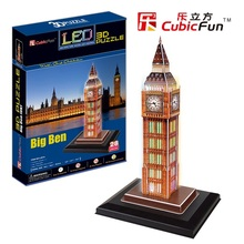 "Kingtoy LED edition paper craft 3 d puzzle the  British Big Ben/LED edition"" Child Diy Toy"