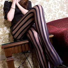 Buy 2017 Newest Style Women's Sexy Wide Stripes Transparent Breathable Tights Stockings Pantyhose